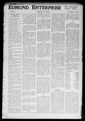 Primary view of object titled 'Edmond Enterprise and Oklahoma County News. (Edmond, Okla.), Vol. 1, No. 92, Ed. 1 Thursday, November 3, 1904'.