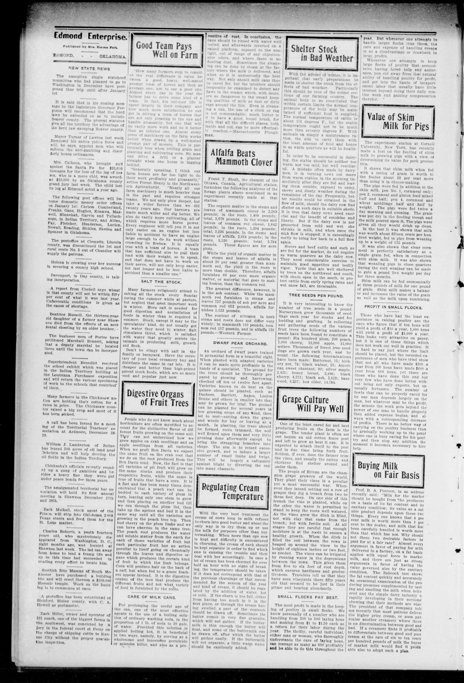 Edmond Enterprise and Oklahoma County News. (Edmond, Okla.), Vol. 1, No. 98, Ed. 1 Thursday, December 15, 1904                                                                                                      [Sequence #]: 4 of 8