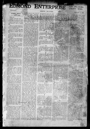 Primary view of object titled 'Edmond Enterprise and Oklahoma County News. (Edmond, Okla.), Vol. 1, No. 101, Ed. 1 Thursday, January 5, 1905'.