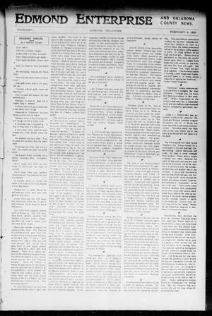 Primary view of object titled 'Edmond Enterprise and Oklahoma County News. (Edmond, Okla.), Vol. 1, No. 106, Ed. 1 Thursday, February 9, 1905'.