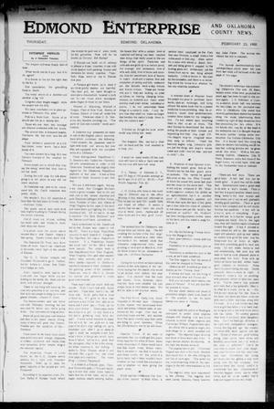 Primary view of object titled 'Edmond Enterprise and Oklahoma County News. (Edmond, Okla.), Vol. 1, No. 108, Ed. 1 Thursday, February 23, 1905'.