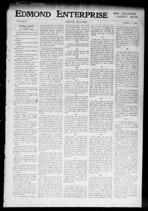 Primary view of object titled 'Edmond Enterprise and Oklahoma County News. (Edmond, Okla.), Vol. 1, No. 109, Ed. 1 Thursday, March 2, 1905'.