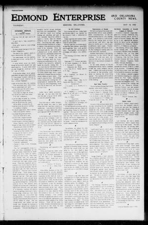 Primary view of object titled 'Edmond Enterprise and Oklahoma County News. (Edmond, Okla.), Vol. 1, No. 4, Ed. 1 Thursday, May 18, 1905'.