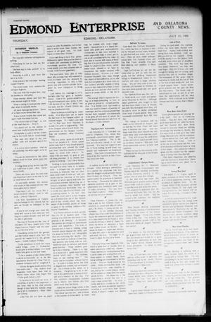 Primary view of object titled 'Edmond Enterprise and Oklahoma County News. (Edmond, Okla.), Vol. 1, No. 15, Ed. 1 Thursday, July 20, 1905'.