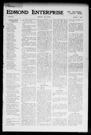 Primary view of object titled 'Edmond Enterprise and Oklahoma County News. (Edmond, Okla.), Vol. 1, No. 48, Ed. 1 Thursday, March 1, 1906'.