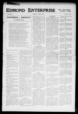 Primary view of object titled 'Edmond Enterprise and Oklahoma County News. (Edmond, Okla.), Vol. 2, No. 11, Ed. 1 Thursday, June 7, 1906'.