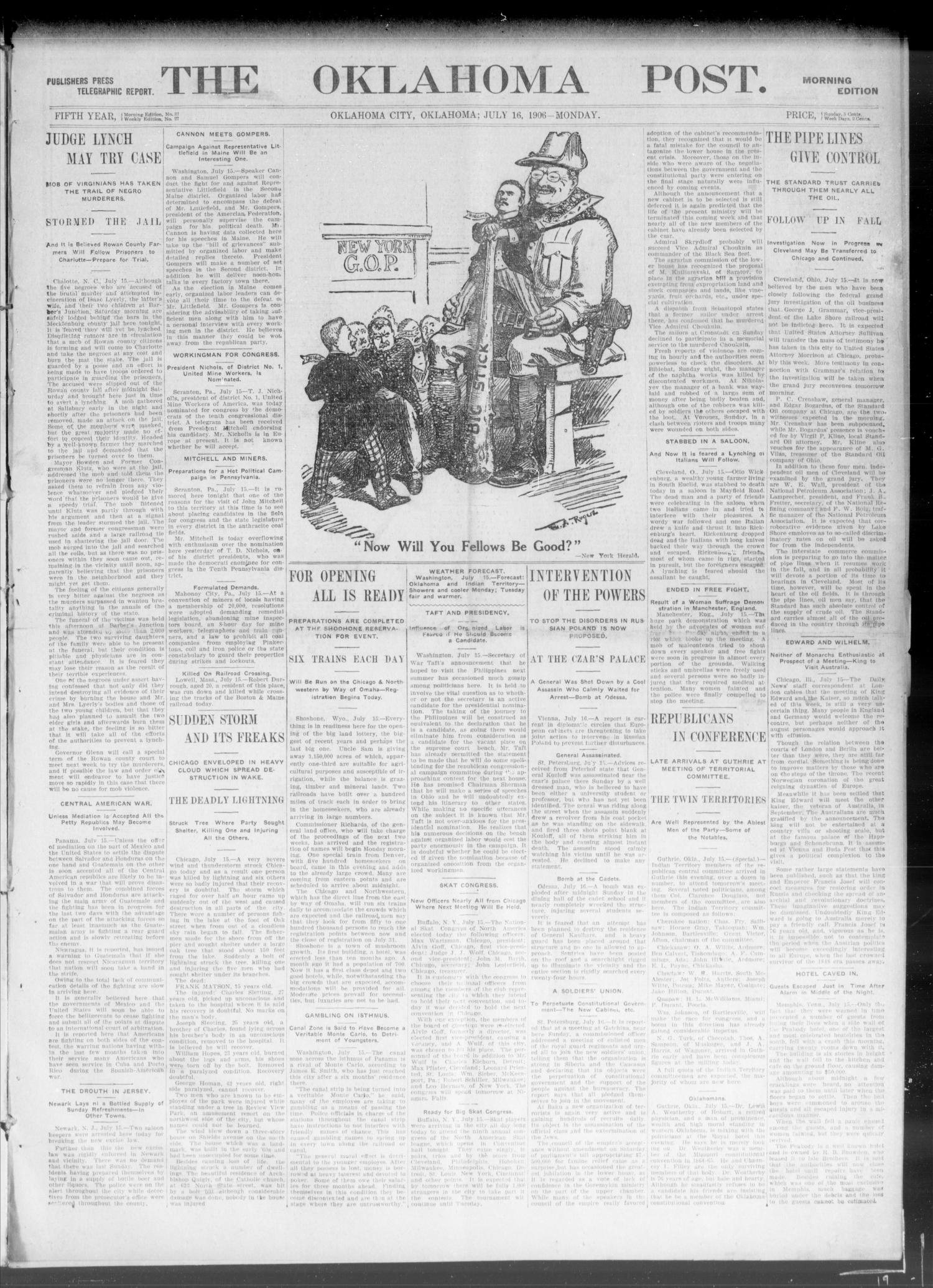 The Oklahoma Post. (Oklahoma City, Okla.), Vol. 5, No. 37, Ed. 1 Monday, July 16, 1906                                                                                                      [Sequence #]: 1 of 8