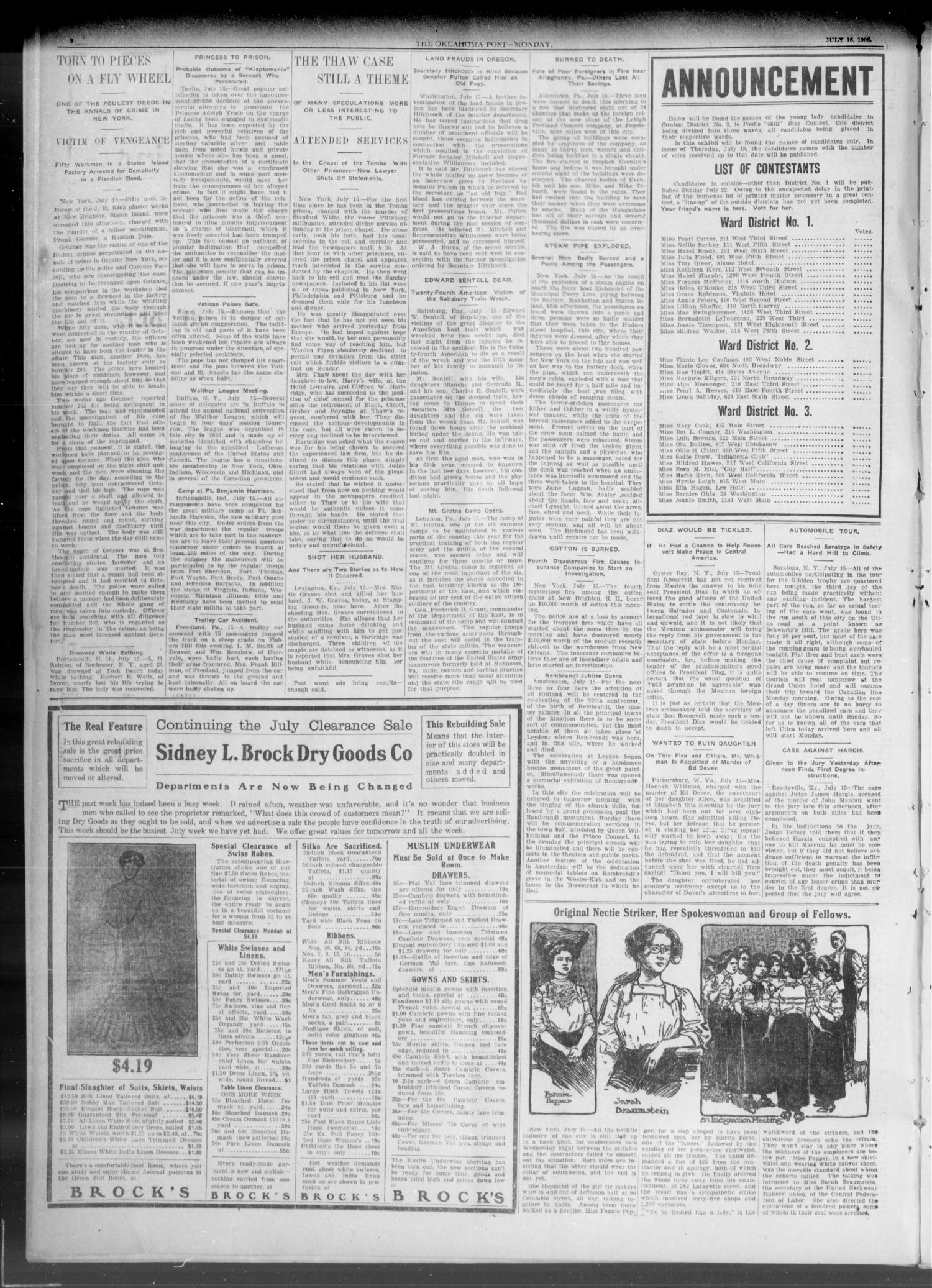 The Oklahoma Post. (Oklahoma City, Okla.), Vol. 5, No. 37, Ed. 1 Monday, July 16, 1906                                                                                                      [Sequence #]: 2 of 8