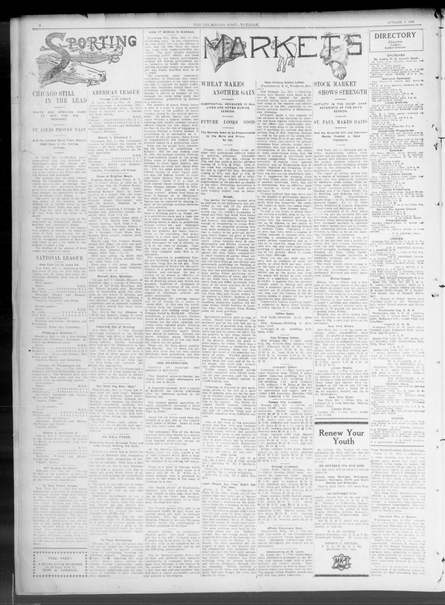 The Oklahoma Post. (Oklahoma City, Okla.), Vol. 5, No. 114, Ed. 1 Tuesday, October 2, 1906                                                                                                      [Sequence #]: 4 of 8
