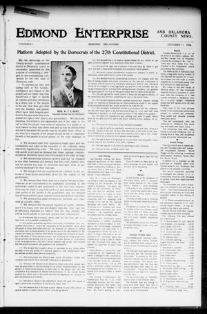 Primary view of object titled 'Edmond Enterprise and Oklahoma County News. (Edmond, Okla.), Vol. 2, No. 29, Ed. 1 Thursday, October 11, 1906'.