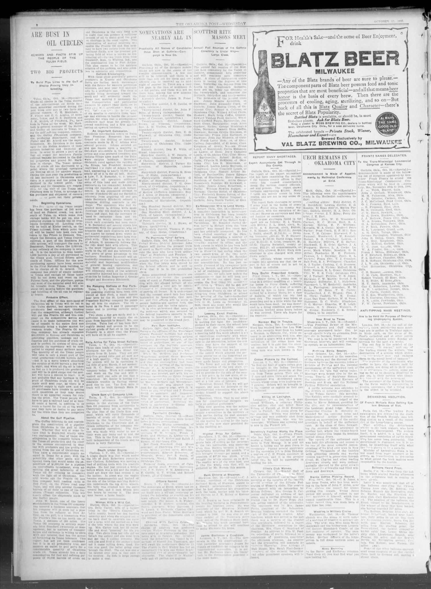 The Oklahoma Post. (Oklahoma City, Okla.), Vol. 5, No. 129, Ed. 1 Wednesday, October 17, 1906                                                                                                      [Sequence #]: 2 of 8