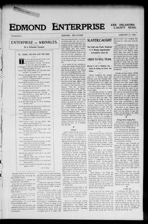 Primary view of object titled 'Edmond Enterprise and Oklahoma County News. (Edmond, Okla.), Vol. 2, No. 42, Ed. 1 Thursday, January 10, 1907'.