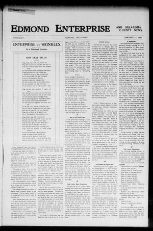 Primary view of object titled 'Edmond Enterprise and Oklahoma County News. (Edmond, Okla.), Vol. 2, No. 43, Ed. 1 Thursday, January 17, 1907'.