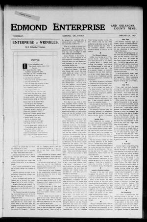 Primary view of object titled 'Edmond Enterprise and Oklahoma County News. (Edmond, Okla.), Vol. 2, No. 44, Ed. 1 Thursday, January 24, 1907'.