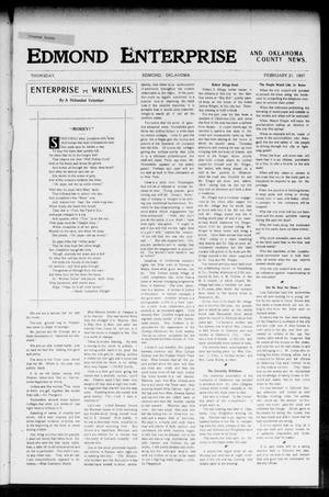Primary view of object titled 'Edmond Enterprise and Oklahoma County News. (Edmond, Okla.), Vol. 2, No. 48, Ed. 1 Thursday, February 21, 1907'.