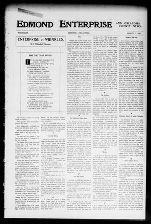 Primary view of object titled 'Edmond Enterprise and Oklahoma County News. (Edmond, Okla.), Vol. 2, No. 51, Ed. 1 Thursday, March 7, 1907'.