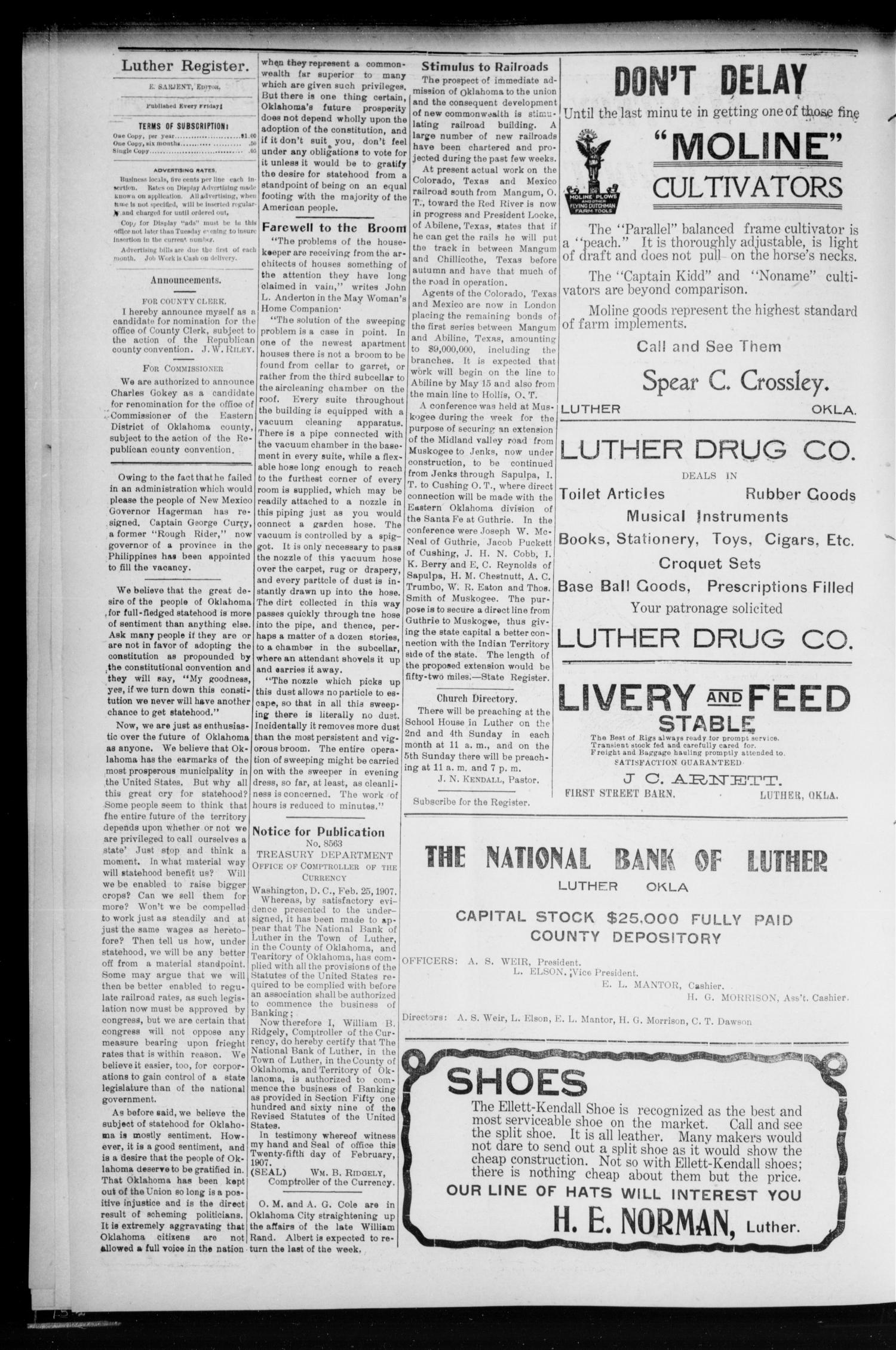 Luther Register. (Luther, Okla.), Vol. 8, No. 39, Ed. 1 Friday, April 26, 1907                                                                                                      [Sequence #]: 4 of 8