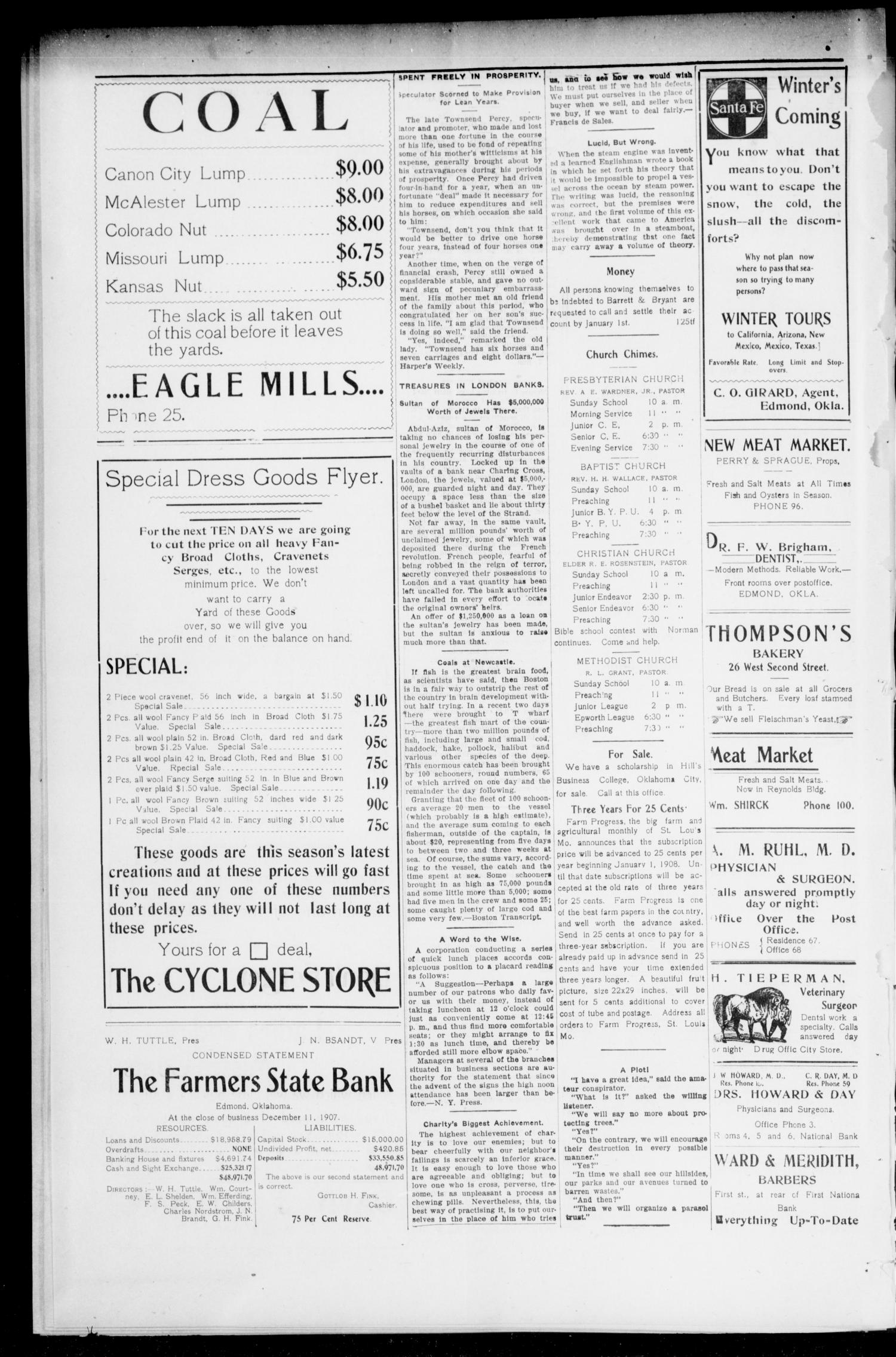 Edmond Twice - A - Week Enterprise (Edmond, Okla.), Vol. 7, No. 66, Ed. 1 Friday, December 27, 1907                                                                                                      [Sequence #]: 4 of 10