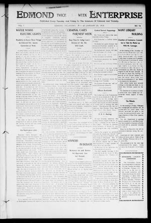 Primary view of object titled 'Edmond Twice - A - Week Enterprise (Edmond, Okla.), Vol. 7, No. 74, Ed. 1 Friday, January 24, 1908'.