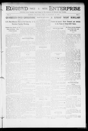 Primary view of object titled 'Edmond Twice - A - Week Enterprise (Edmond, Okla.), Vol. 8, No. 2, Ed. 1 Tuesday, February 18, 1908'.