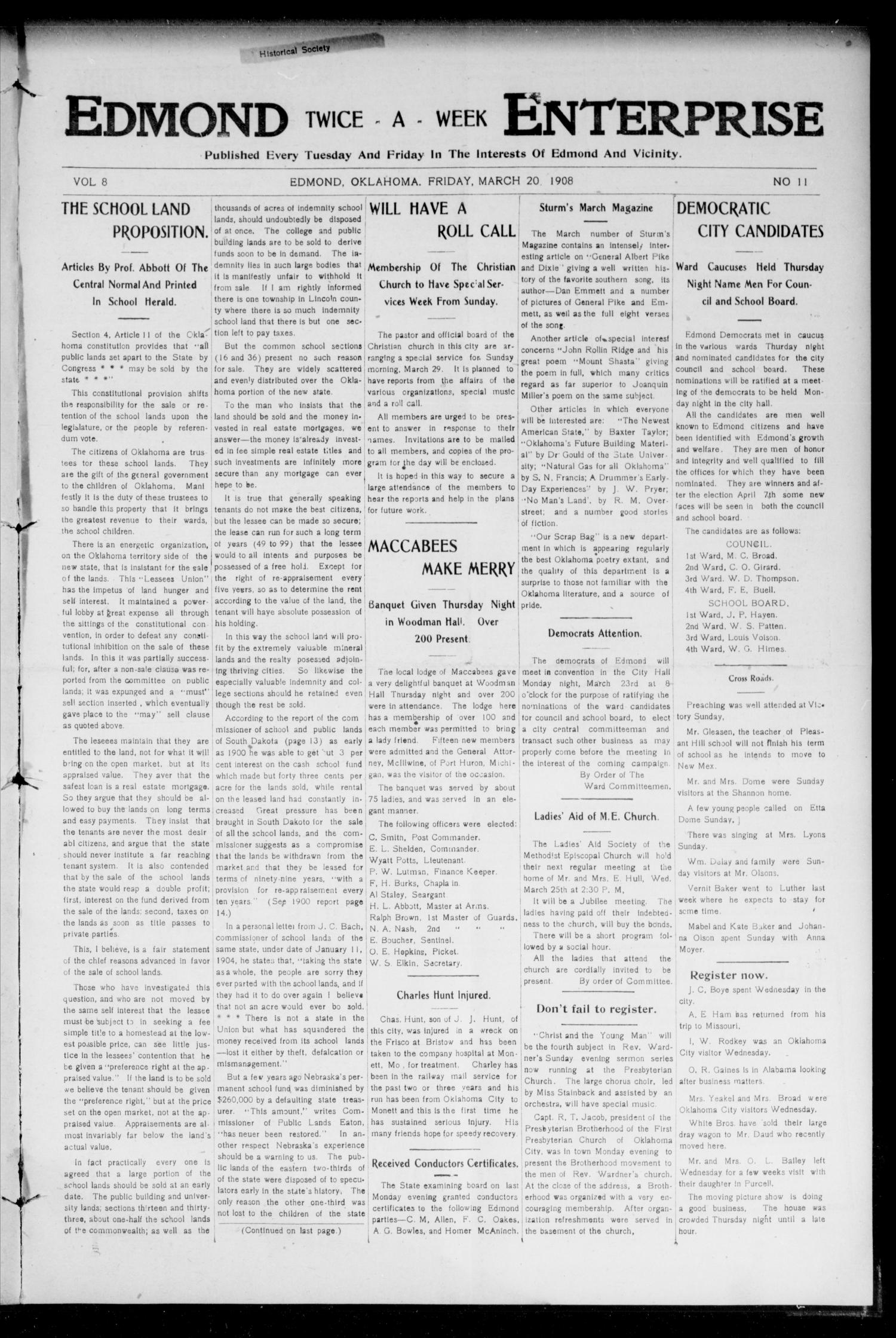 Edmond Twice - A - Week Enterprise (Edmond, Okla.), Vol. 8, No. 11, Ed. 1 Friday, March 20, 1908                                                                                                      [Sequence #]: 1 of 8