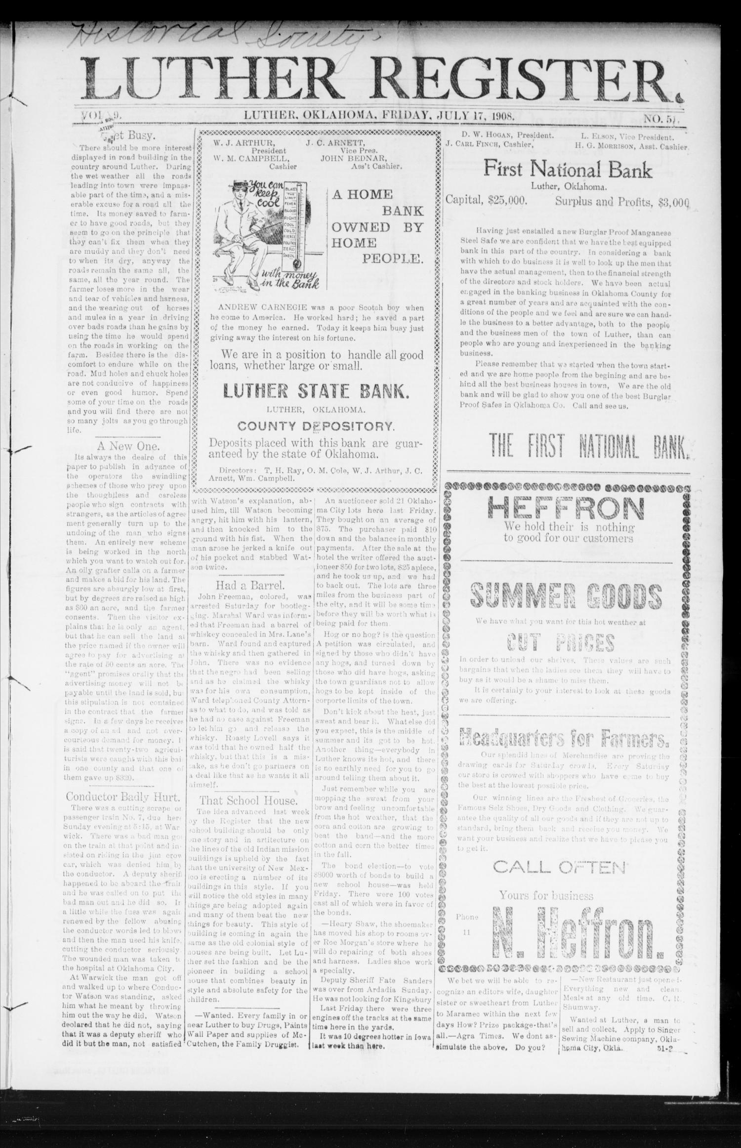 Luther Register. (Luther, Okla.), Vol. 9, No. 51, Ed. 1 Friday, July 17, 1908                                                                                                      [Sequence #]: 1 of 8