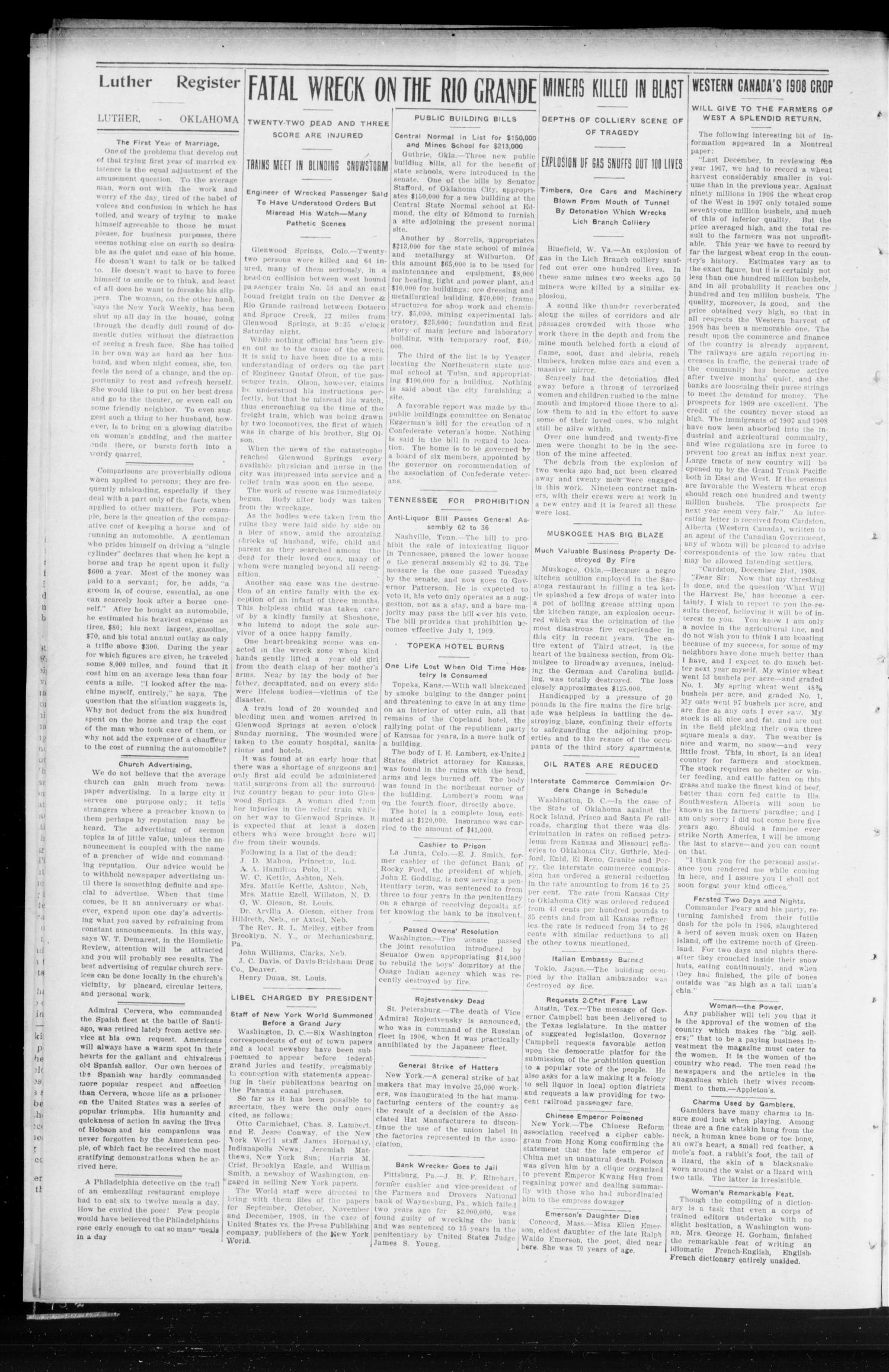 Luther Register. (Luther, Okla.), Vol. 10, No. 26, Ed. 1 Friday, January 22, 1909                                                                                                      [Sequence #]: 2 of 8