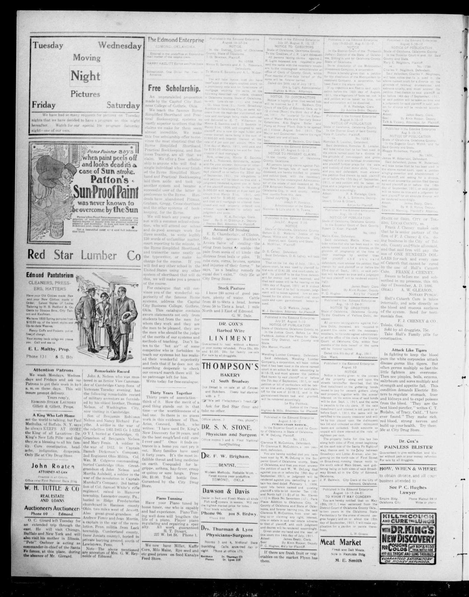 The Edmond Enterprise (Edmond, Okla.), Vol. 11, No. 25, Ed. 1 Thursday, August 10, 1911                                                                                                      [Sequence #]: 4 of 4