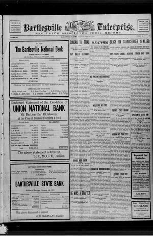 Primary view of Bartlesville Daily Enterprise. (Bartlesville, Okla.), Vol. 8, No. 133, Ed. 1 Thursday, February 6, 1913