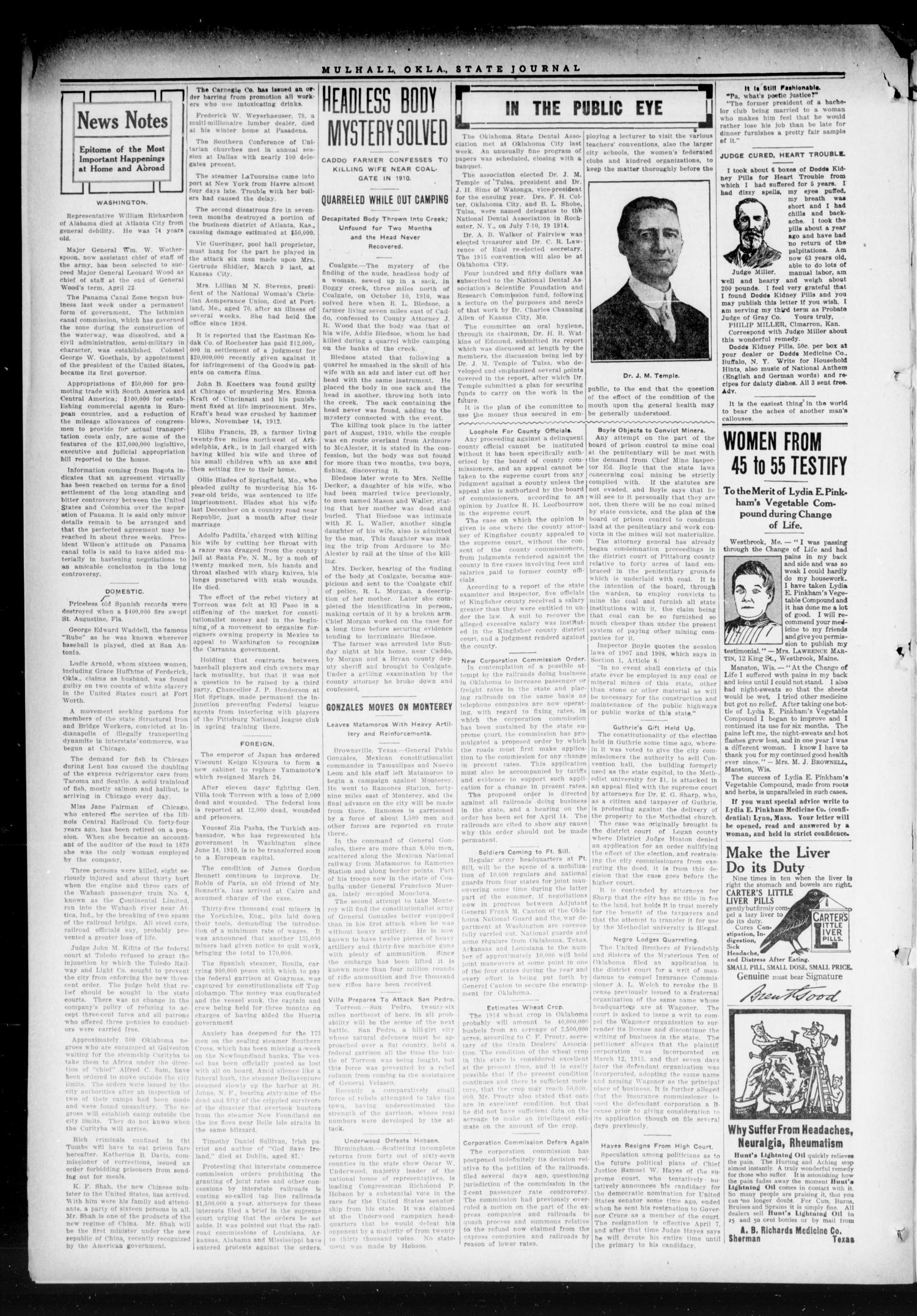 The State Journal (Mulhall, Okla.), Vol. 12, No. 19, Ed. 1 Friday, April 10, 1914                                                                                                      [Sequence #]: 4 of 6