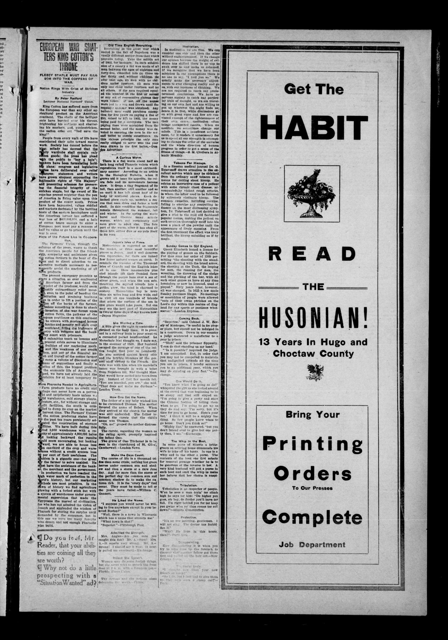 The Hugo Husonian (Hugo, Okla.), Vol. 13, No. 33, Ed. 1 Thursday, December 3, 1914                                                                                                      [Sequence #]: 5 of 8