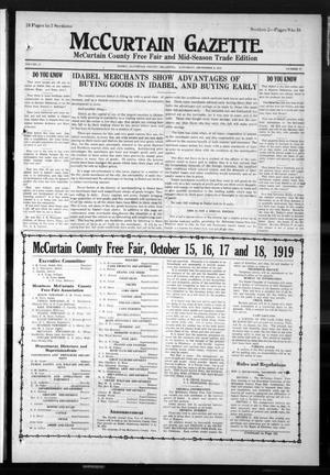 Primary view of object titled 'McCurtain Gazette. (Idabel, Okla.), Vol. 14, No. 57, Ed. 2 Saturday, September 6, 1919'.