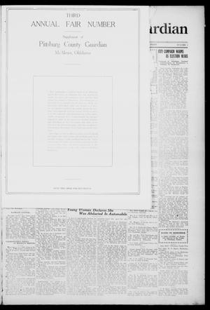 Primary view of object titled 'Pittsburg County Guardian (McAlester, Okla.), Vol. 15, No. 3, Ed. 2 Thursday, September 11, 1919'.