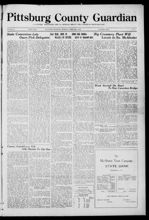 Primary view of object titled 'Pittsburg County Guardian (McAlester, Okla.), Vol. 15, No. 24, Ed. 1 Thursday, February 5, 1920'.