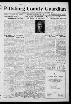 Primary view of object titled 'Pittsburg County Guardian (McAlester, Okla.), Vol. 15, No. 33, Ed. 1 Thursday, April 8, 1920'.