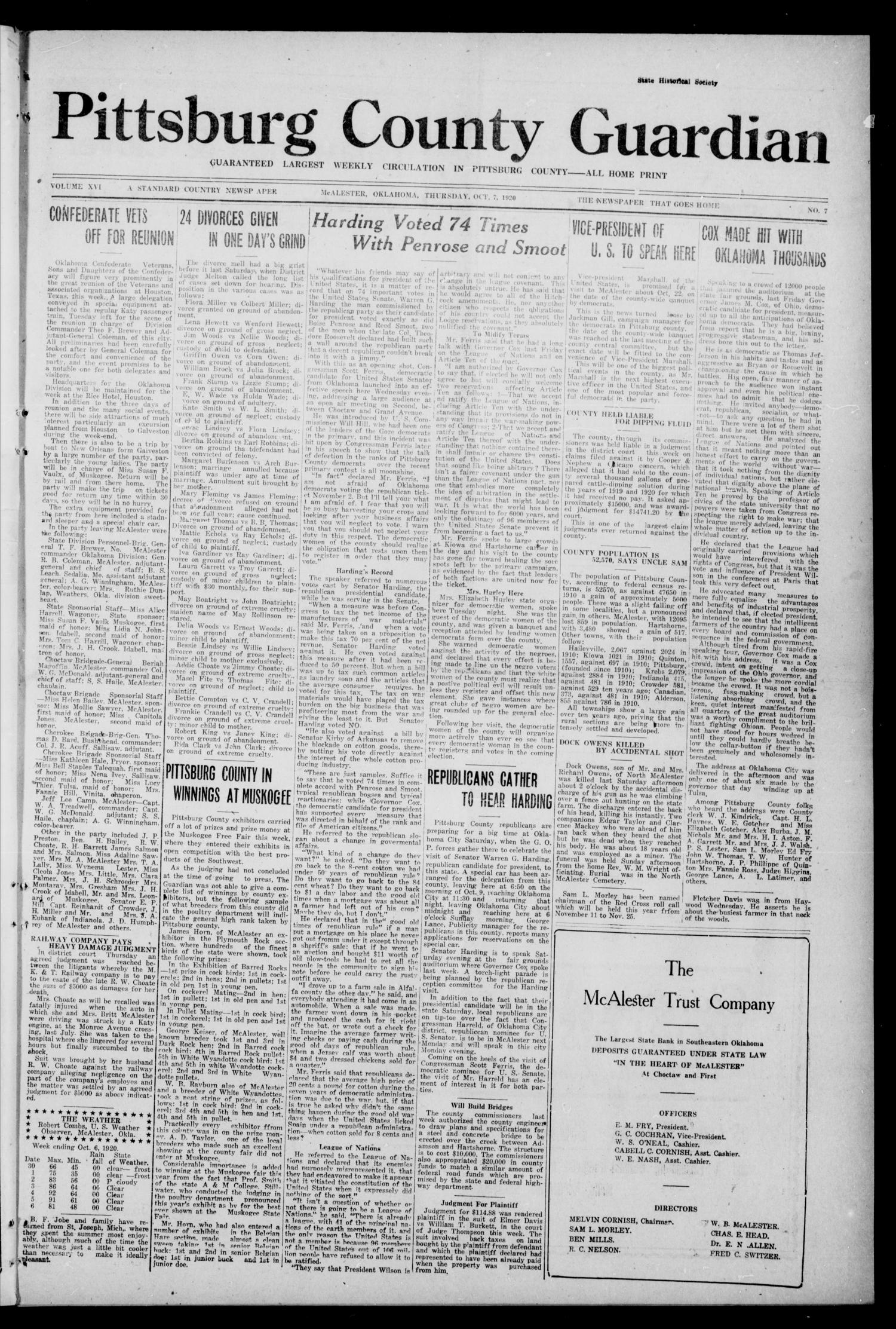 Pittsburg County Guardian (McAlester, Okla.), Vol. 16, No. 7, Ed. 1 Thursday, October 7, 1920                                                                                                      [Sequence #]: 1 of 8