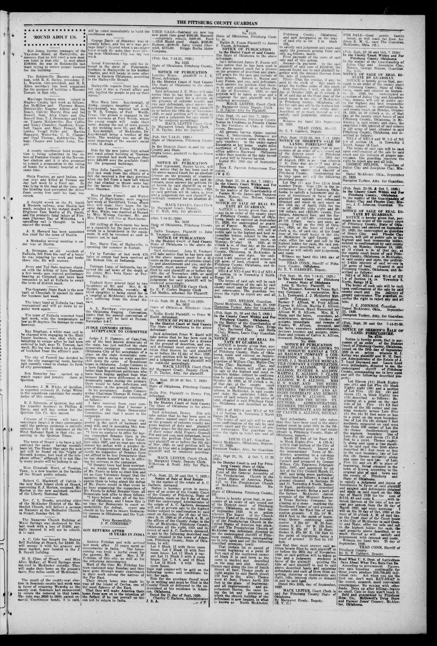 Pittsburg County Guardian (McAlester, Okla.), Vol. 16, No. 7, Ed. 1 Thursday, October 7, 1920                                                                                                      [Sequence #]: 3 of 8