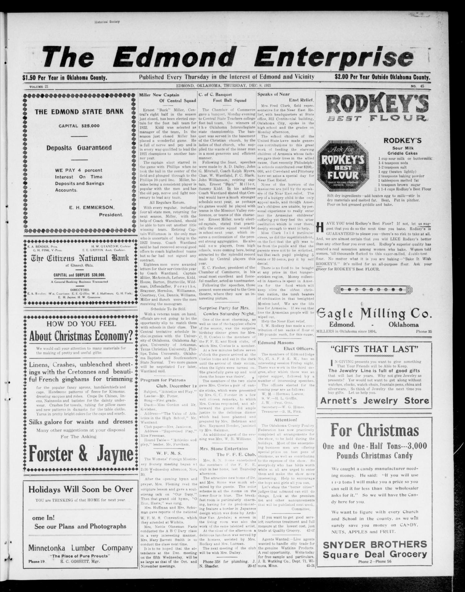 The Edmond Enterprise (Edmond, Okla.), Vol. 21, No. 45, Ed. 1 Thursday, December 8, 1921                                                                                                      [Sequence #]: 1 of 10
