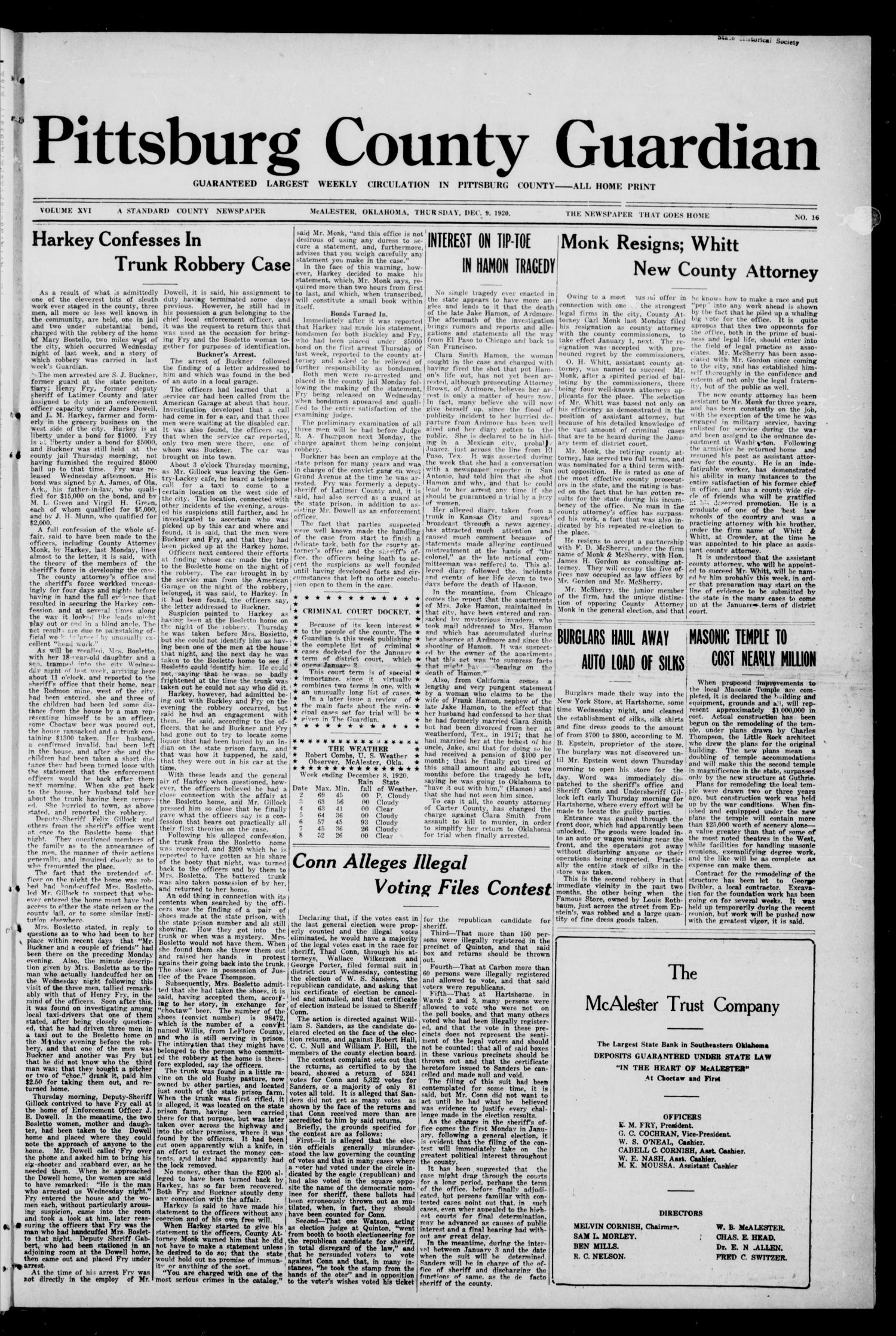 Pittsburg County Guardian (McAlester, Okla.), Vol. 16, No. 16, Ed. 1 Thursday, December 9, 1920                                                                                                      [Sequence #]: 1 of 10