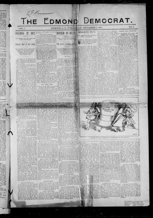 Primary view of object titled 'The Edmond Democrat. (Edmond, Okla. Terr.), Vol. 1, No. 8, Ed. 1 Wednesday, November 2, 1892'.