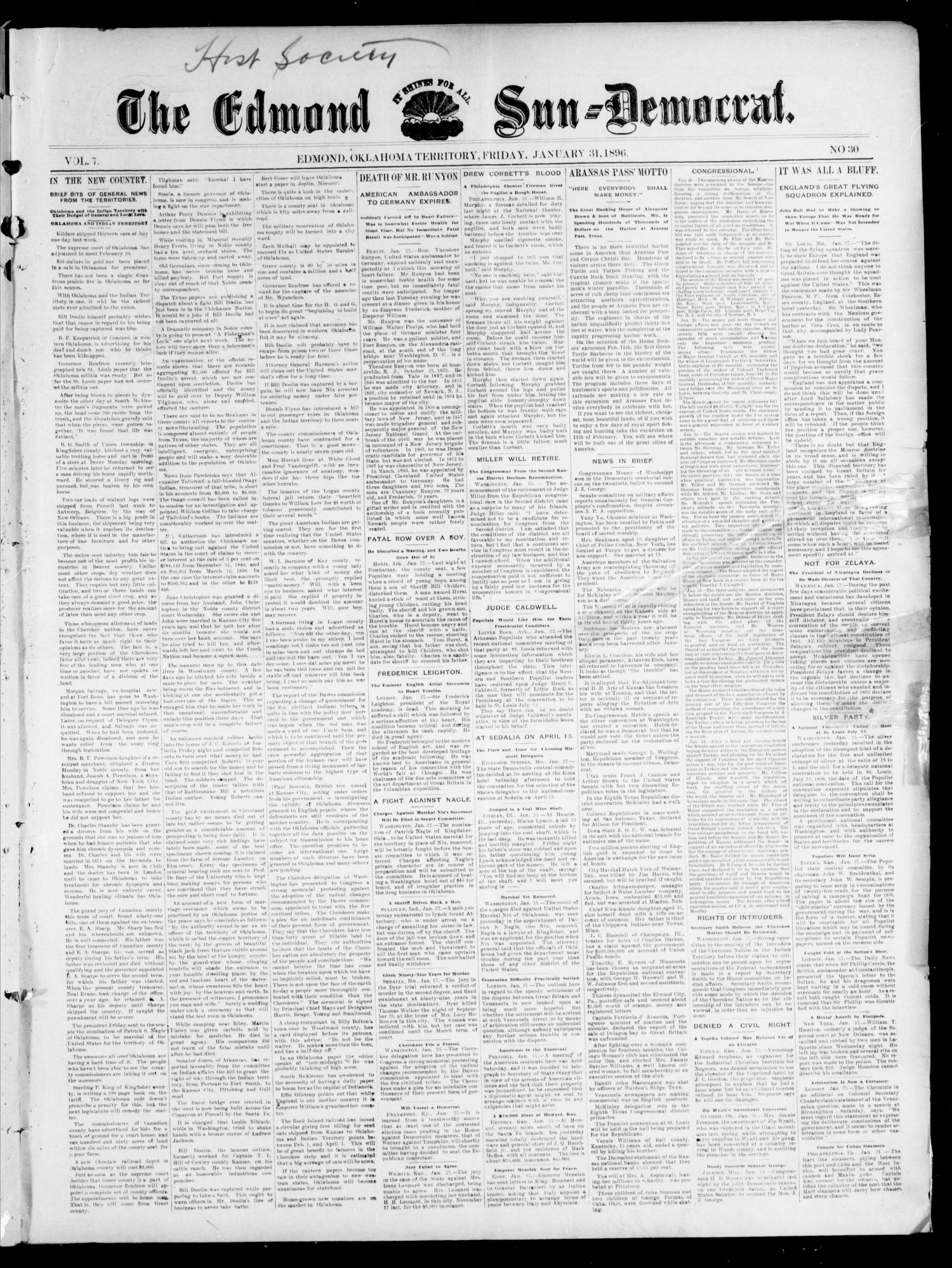 The Edmond Sun--Democrat. (Edmond, Okla. Terr.), Vol. 7, No. 30, Ed. 1 Friday, January 31, 1896                                                                                                      [Sequence #]: 1 of 4