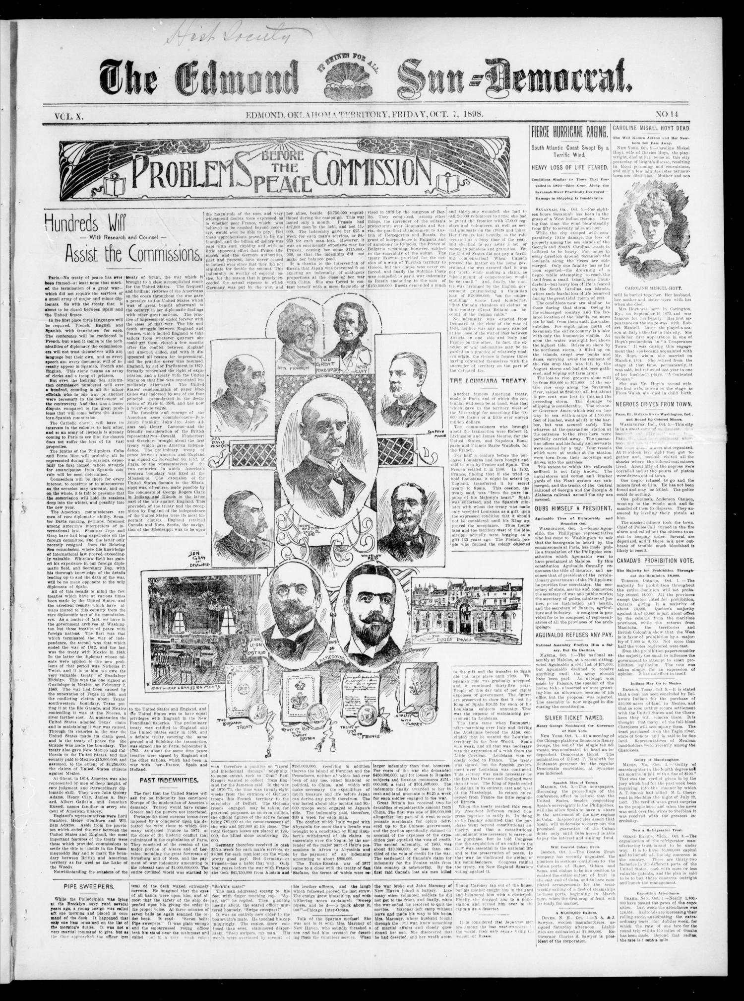 The Edmond Sun--Democrat. (Edmond, Okla. Terr.), Vol. 10, No. 14, Ed. 1 Friday, October 7, 1898                                                                                                      [Sequence #]: 1 of 4