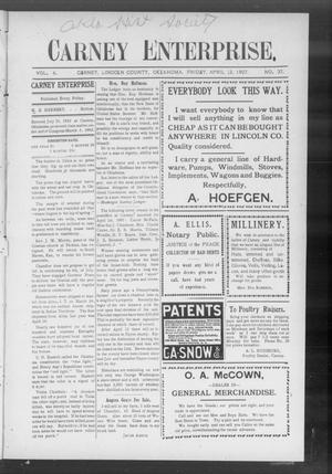 Primary view of Carney Enterprise. (Carney, Okla.), Vol. 6, No. 37, Ed. 1 Friday, April 12, 1907