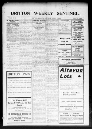 Primary view of object titled 'Britton Weekly Sentinel. (Britton, Okla.), Vol. 1, No. 21, Ed. 1 Saturday, August 1, 1908'.