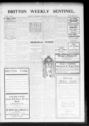 Primary view of object titled 'Britton Weekly Sentinel. (Britton, Okla.), Vol. 1, No. 24, Ed. 1 Saturday, August 22, 1908'.
