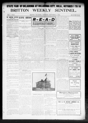 Primary view of object titled 'Britton Weekly Sentinel. (Britton, Okla.), Vol. 1, No. 26, Ed. 1 Saturday, September 5, 1908'.