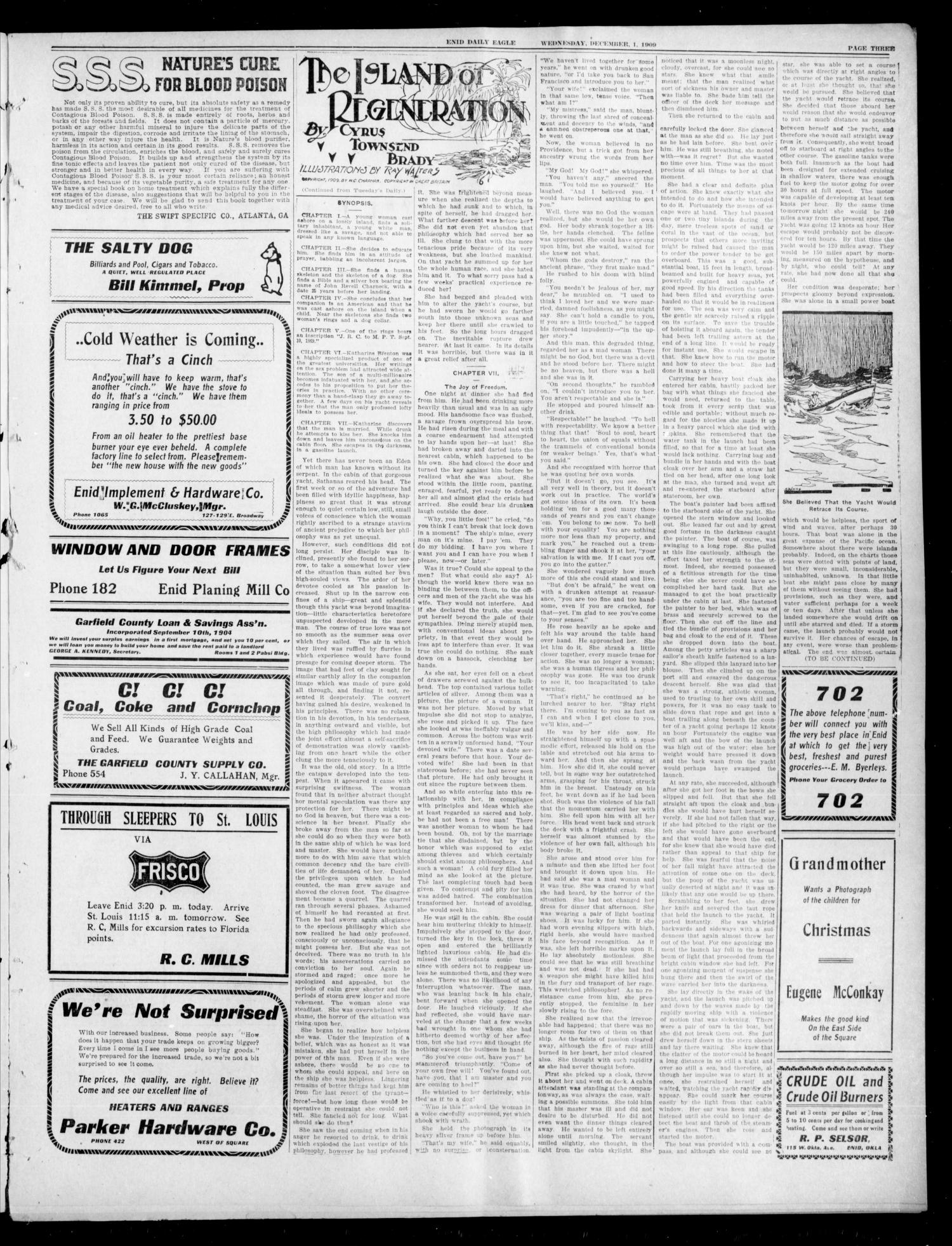 The Enid Daily Eagle. (Enid, Okla.), Vol. 9, No. 54, Ed. 1 Wednesday, December 1, 1909                                                                                                      [Sequence #]: 3 of 8