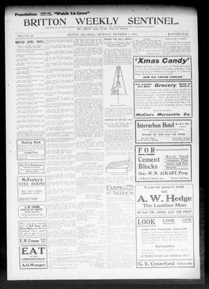Primary view of object titled 'Britton Weekly Sentinel. (Britton, Okla.), Vol. 3, No. 42, Ed. 1 Thursday, December 1, 1910'.
