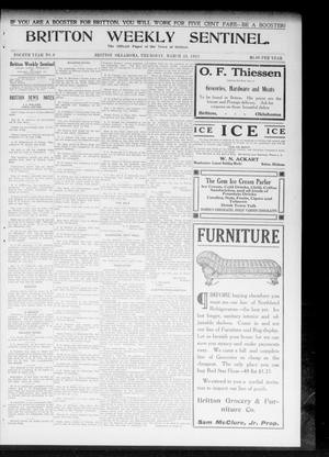 Primary view of object titled 'Britton Weekly Sentinel. (Britton, Okla.), Vol. 4, No. 6, Ed. 1 Thursday, March 23, 1911'.