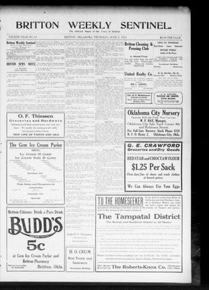 Primary view of object titled 'Britton Weekly Sentinel. (Britton, Okla.), Vol. 4, No. 20, Ed. 1 Thursday, June 8, 1911'.
